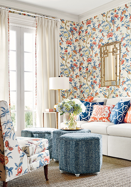 Colourful combination of patterned wallpaper and upholstery for living room