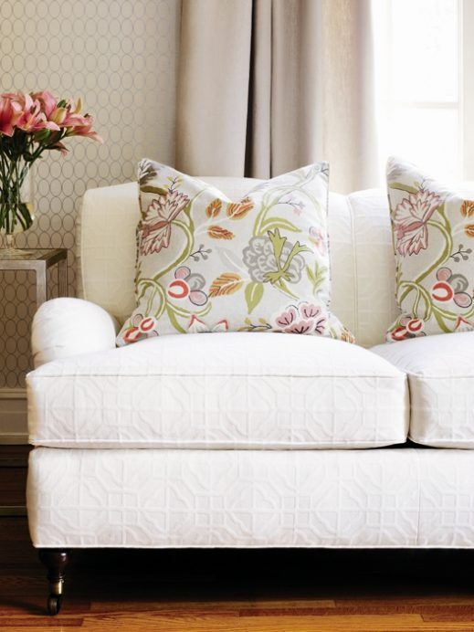 White upholstered sofa - corner details and texture